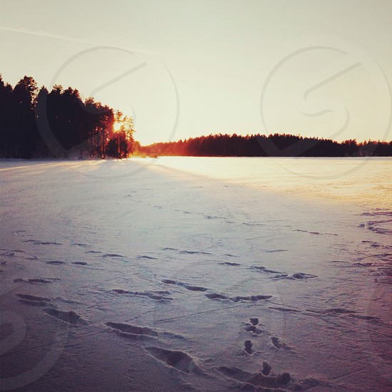 footprints on white snow during sunset photo