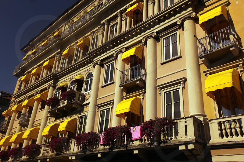 a Palace Hotel in the old town of Pallanza near to Verbania on the Lago maggiore in the Lombardia  in north Italy.  photo