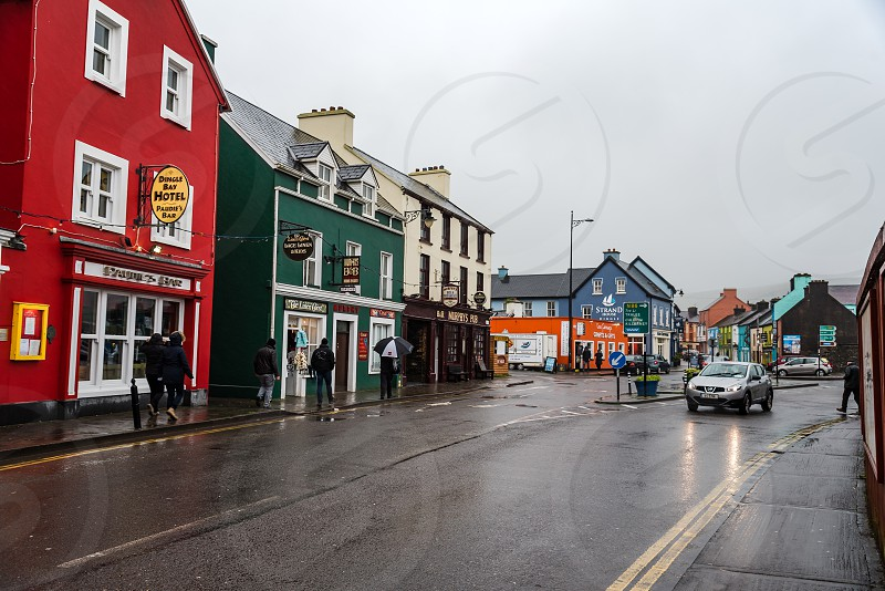 Picturesque houses and restaurants in Dingle Peninsula a rainy day. photo