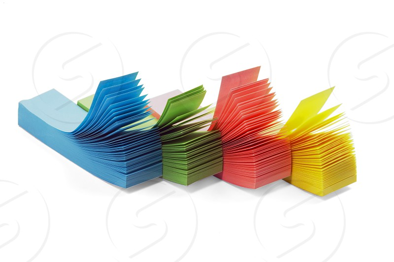 assorted colour memo stickers isolated on white background photo