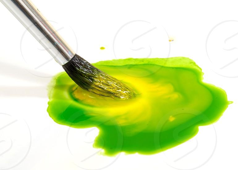 brush paint mix mixing green yellow watercolor  photo