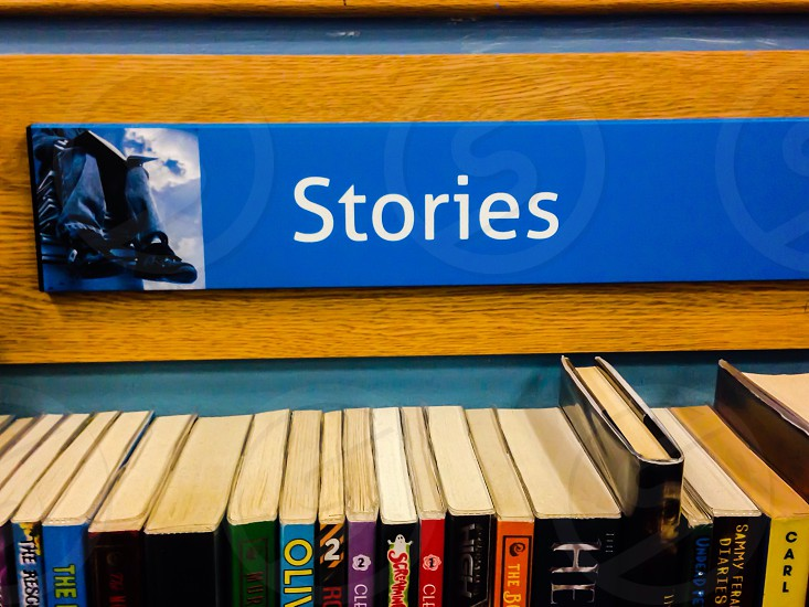 Stories bookshelf book section photo