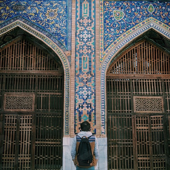 The door in the building of the Madrasah the Registan square in the city of Samarkand Uzbekistan. photo
