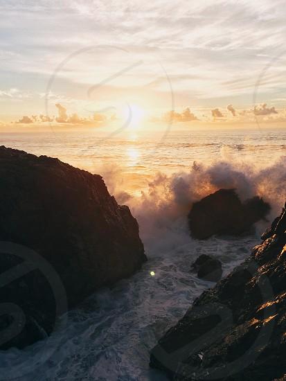 beige rocks at sea view photo