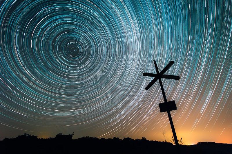 Star trails over the fields. photo