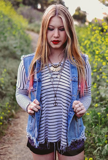 fashion free people denim vest stripes outfit girl model photo