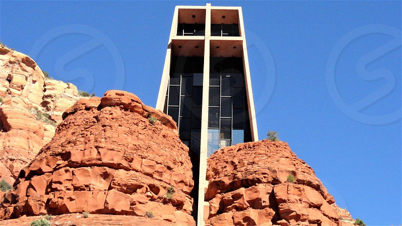 Church constructed on cliff.       photo