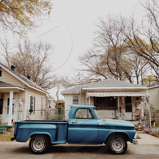 blue pickup truck photo