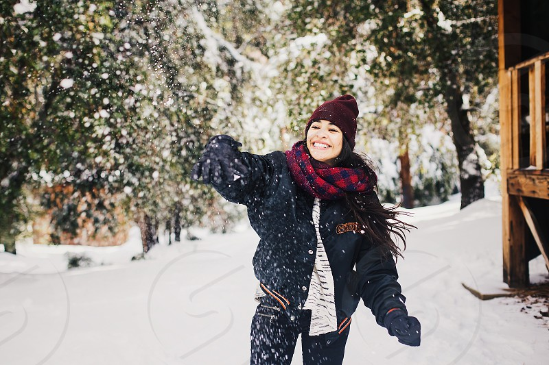 Snow Travel Winter Snow Storm Road Mountains Road Trip Adventure Camp Trees snowy trees Girls Throwing Snow Snowing camp retreat Snowball photo