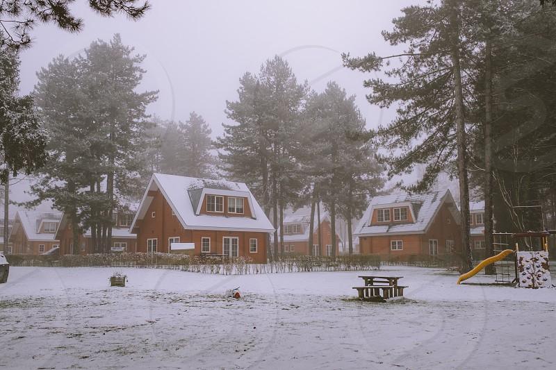 Belgium snow houses Zutendaal photo