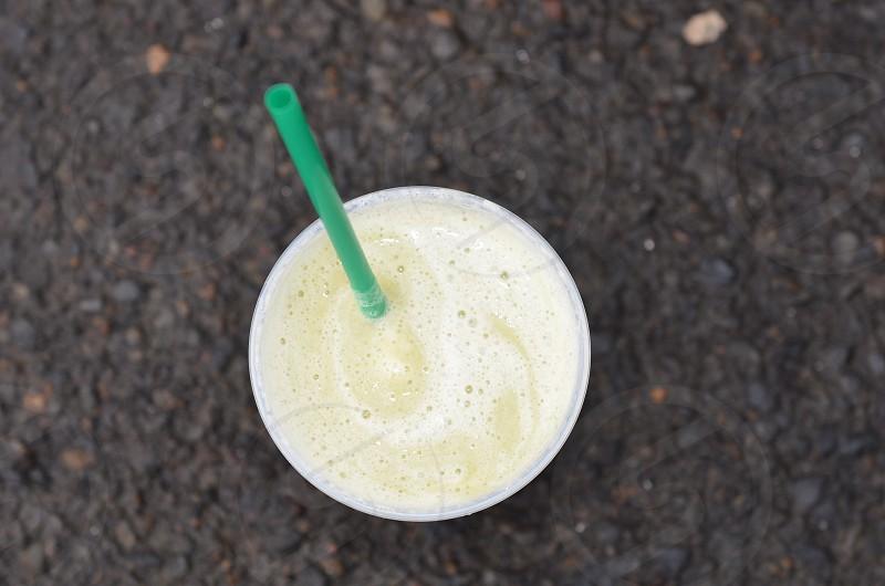 Morning breakfast smoothie kale banana straw photo