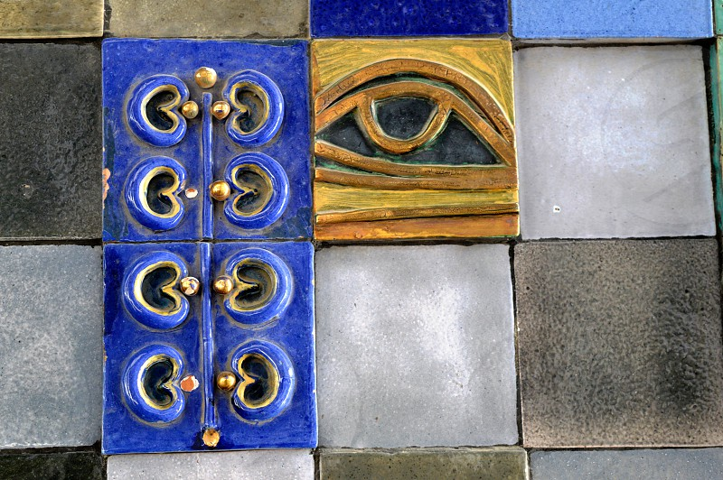 The wall of the elements of ornament and abstract drawings. Stone eye. photo