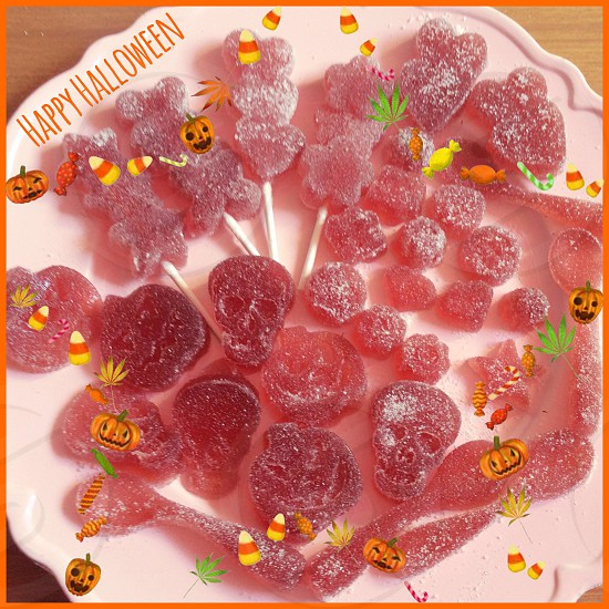 gummy candies on white ceramic plates photo