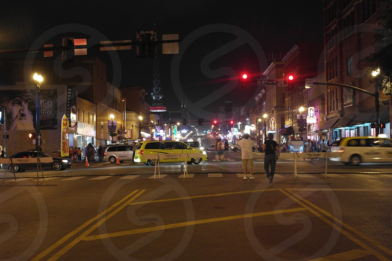 Busy street (Broadway) in downtown Nashville. photo