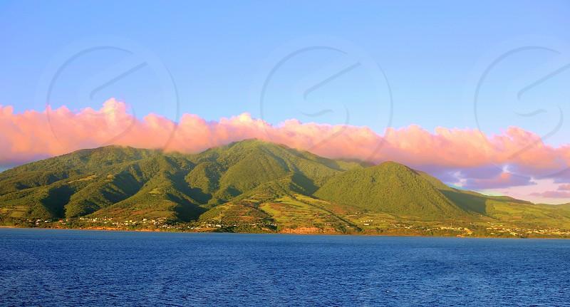 Ocean; landscape; nature; hills; mountains; sky photo