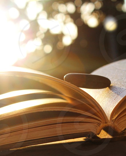 Soft back light of an open book with a smooth stone balanced on the pages. photo