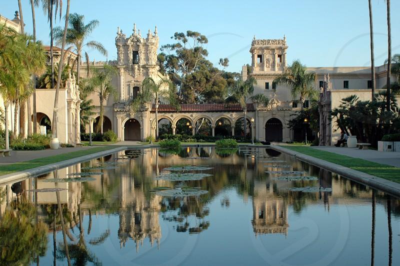 El Prado in Balboa Park in San Diego California looking across the koi pond reflection pool photo