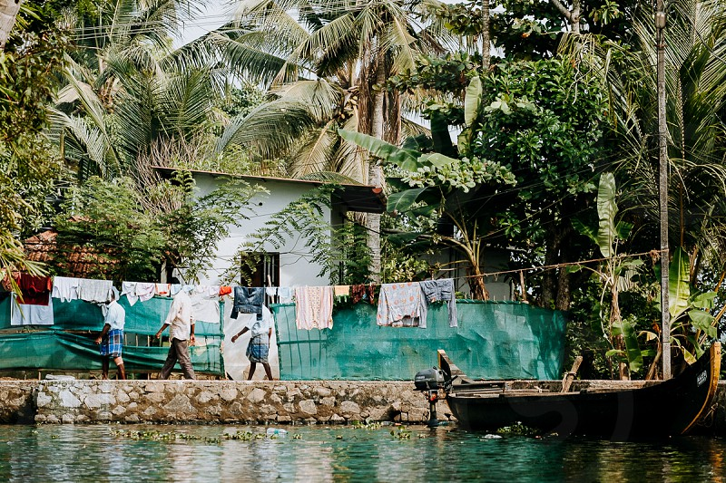 Scenery at backwaters in Kerala photo