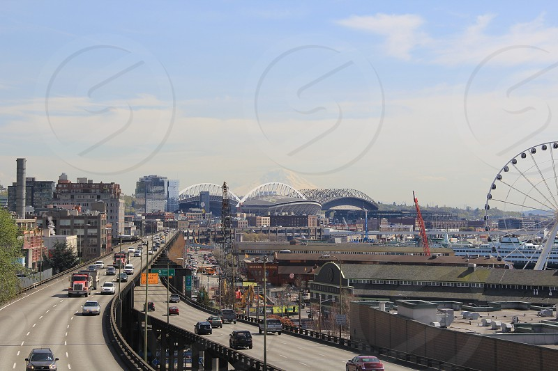 Seattle city view with Mt Rainer.  photo
