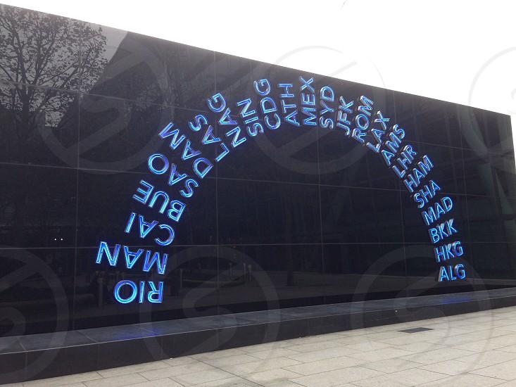 Art worldwide airport destinations in lights at Heathrow photo