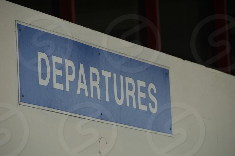 Departures sign Montego Bay Jamaica Sangsters International Airport Caribbean photo