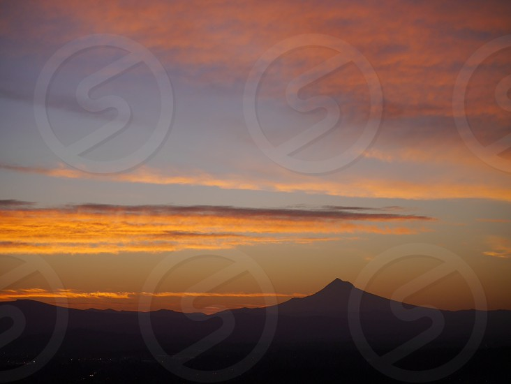 Sunrise View of Mt. Hood from Portland Oregon; Pdx;  photo