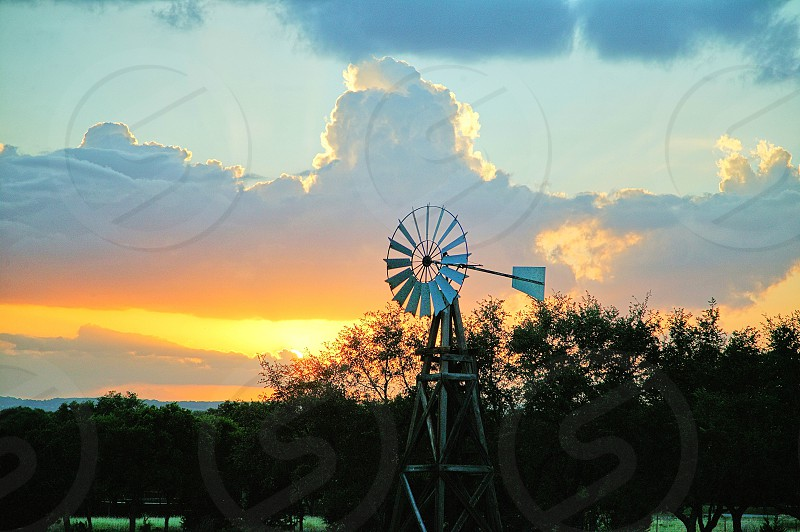 Texas Windmill at Sunset. photo