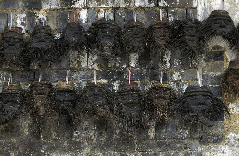 masks in a market in the town of Yangshou near the city of  Guilin in the Province of Guangxi in china in east asia.  photo