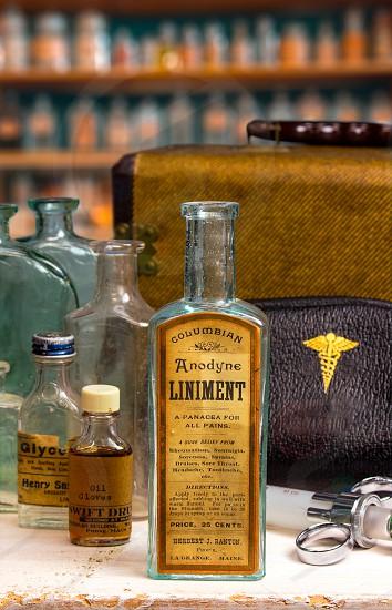 Glass bottle medication medical vintage doctor health care antique  photo