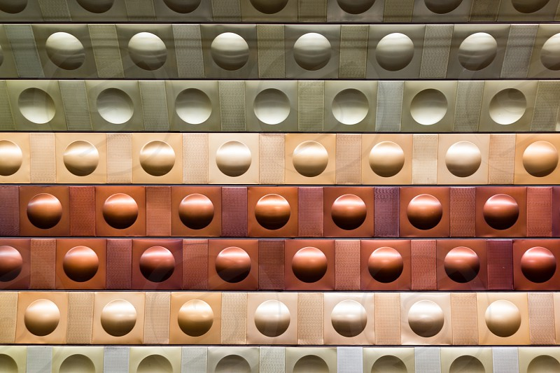 Prague underground metro futuristic wall pattern photo