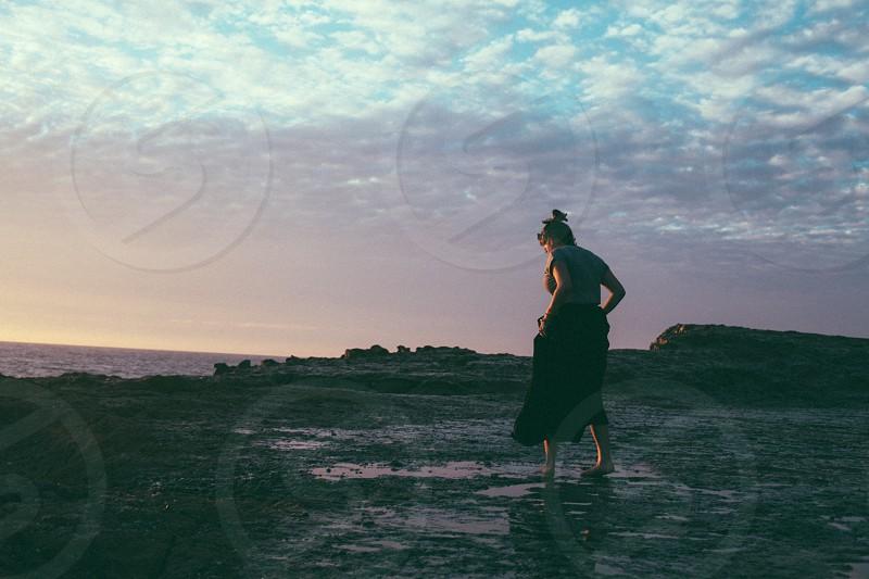 women's black skirt photo