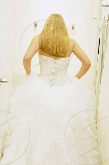 wedding dress shopping fitting room photo