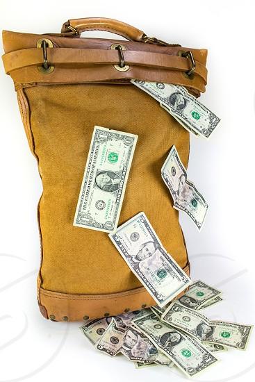 Money cash currency bills financialbank bag change photo