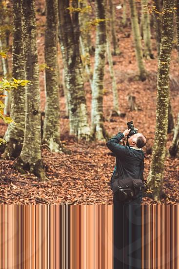 Man Photographer In Forest In Autumn Season photo