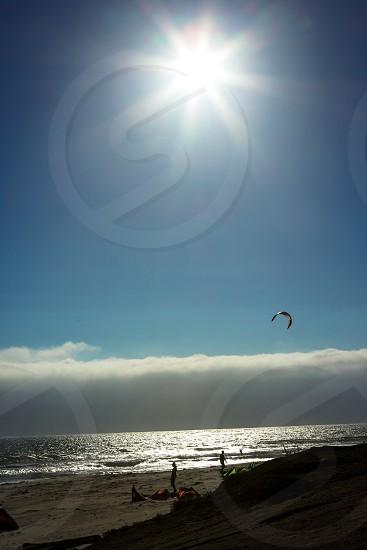 Bright sun over the beach photo