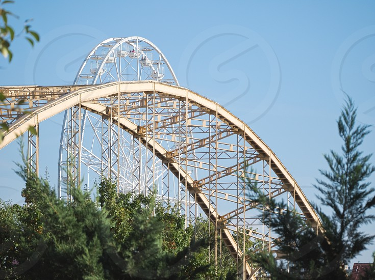 Ferris Wheel and Kossuth Bridge Steel Structure Closeup in Győr Hungary photo