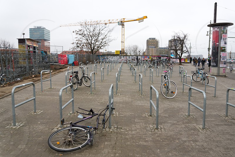 Bicycles parking space in Friedrichshain Berlin Germany photo