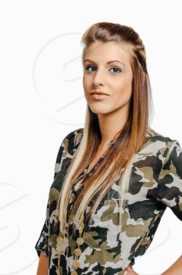 women's green brown and white camouflage button down blouse photo
