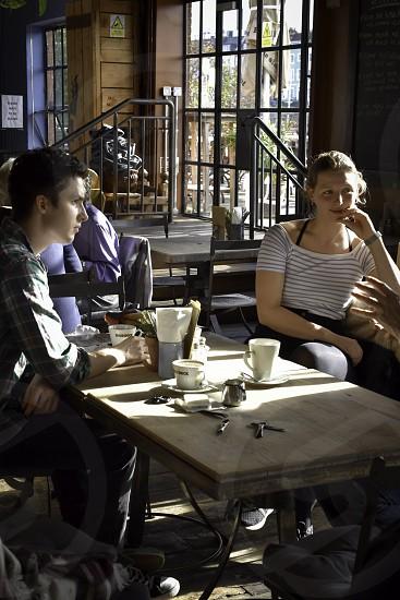 Students enjoying a coffee break. photo