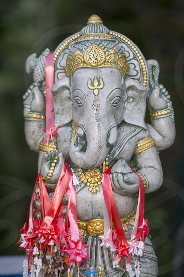 a elephant figure at Wat Chalermprakiet Prajomklao Rachanusorn Temple north of the city of Lampang in North Thailand. photo