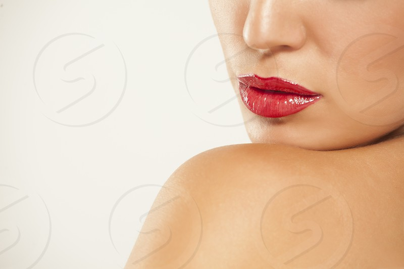 beautiful lips with red lipstick photo
