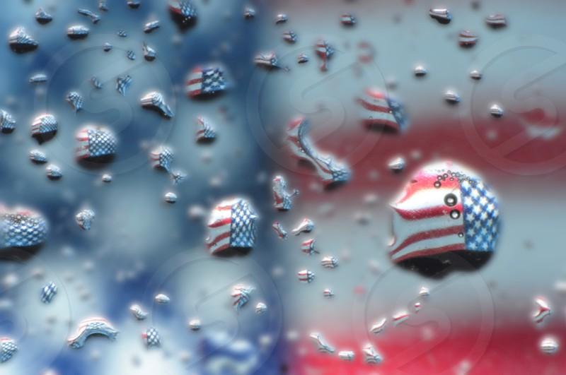 FLAG PATRIOTIC REFRACTION WATER DROPS photo