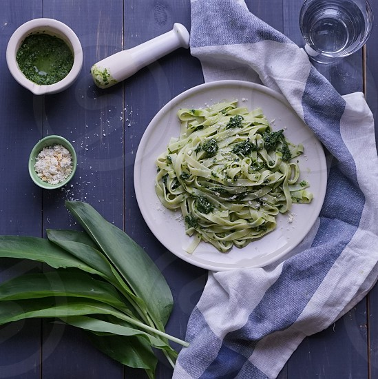 Green pasta food healthy homemade colorful blue photo