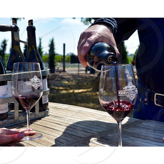 man pouring red wine on glass photo