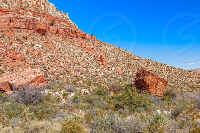 Falling rocks. Sandstone Canyon Loop Trail in Spring Mountain Ranch State Park. Nevada. USA photo