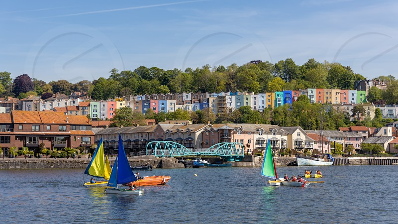 BRISTOL UK - MAY 14 : View of boats on the River Avon in Bristol on May 14 2019. Unidentified people photo