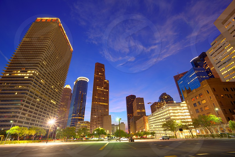 Houston Downtown skyline at sunset from south in Texas US USA photo