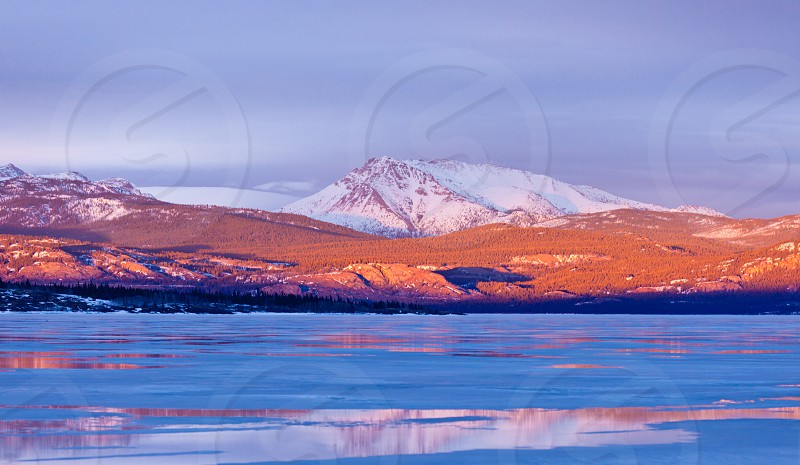 Warm evening light on snow-covered Mount Laurier on the eastern shore of frozen Lake Laberge Yukon Territory Canada photo