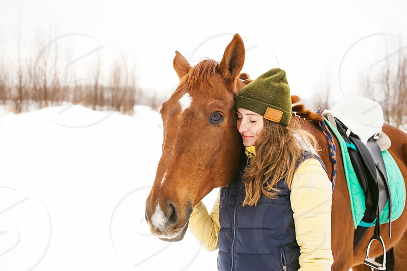 Female rider and horse in the open air. portrait of a beautiful young woman with her stallion outdoors in winter. girl hugging and caressing the animal photo