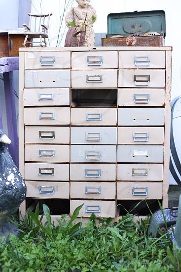 white filing cabinet photo
